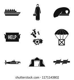 Collateral damage icons set. Simple set of 9 collateral damage icons for web isolated on white background