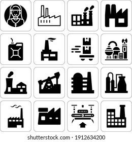 Collection of 16 4.0 filled icons included oil industry, factory, gasoline, oil field, drone