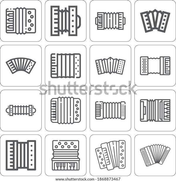 Collection of 16 accordion lineal icons included