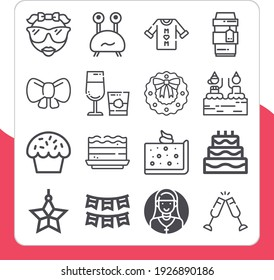 Collection of 16 birthday lineal icons included cup, cake, brownie, star, wreath, garlands, mothers day, cool, cheers, monster, bow, stemware, small cupcake, birthday