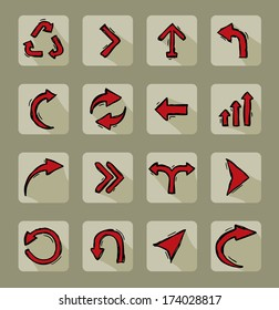 Collection of 16 different red doodle arrow icons - raster version of vector illustration