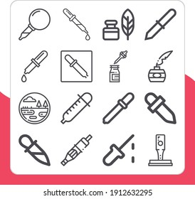 Collection of 16 make full lineal icons included cartridge, dropper, wetland, education, quill