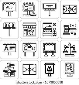 Collection of 16 motor inn lineal icons included auction, billboard, court, advertising, house, basketball court, bedroom