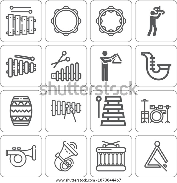 Collection of 16 musical organization lineal icons included xylophone, triangle, trombone, drum set, tambourine, drum, xilofono, saxophone, bladder pipe