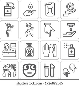 Collection of 16 showing lineal icons included money, finger, pointing down, accesories, surprised, dancing, jerrycan, spray, hand gel, hand washing, hand sanitizer