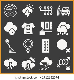 Collection of 16 stir filled icons included refuel, storm, female hand drawn symbol outline, dress, shift stick, sex, protein shake, rain, rainy, oral, femenine