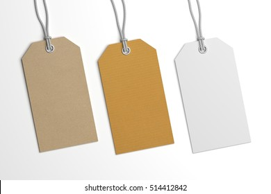 Collection of 3D illustration price label hang tags mockup