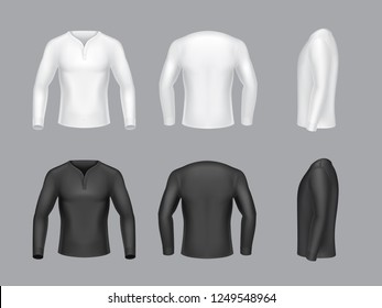 collection 3d realistic white and black long sleeve sweaters with buttons. Modern fashion design. Clothes in different views side, back and front Man classic apparel isolated on grey background