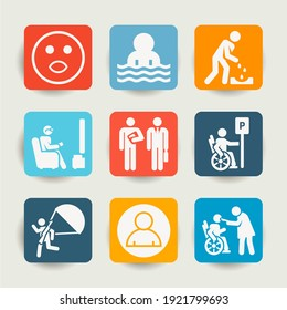 Collection of 9 handicapped filled icons included assistance, parking, profile, gardener, parachuter, nerd, businessmen, physiotherapy