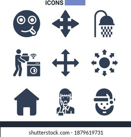 Collection of 9 mother filled icons included washing machine, house, shower, happy, santa claus, move