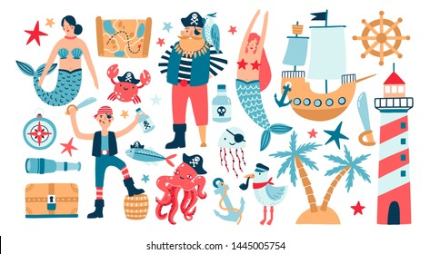 Collection of adorable pirates, sail ship, mermaids, sea fish and underwater creatures, treasure chest, lighthouse isolated on white background. Childish illustration in flat cartoon style