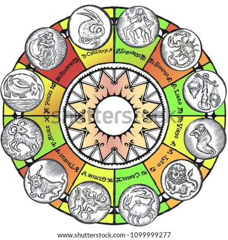 c1432b9ae Collection of All Zodiac Signs. illustration of Twelve Zodiacal Symbols on White  Background. Aries