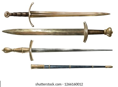 Collection of ancient weapon. Realistic swords and rapier with a sheath. Set. Isolated