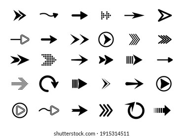 Collection of app sign elements. Big set of flat arrows isolated on white background. Collection of concept arrows for web design, mobile apps, interface and more.