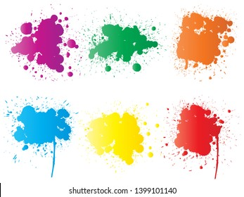 Collection of artistic grungy paint drop, hand made creative splash or splatter stroke set isolated white background. Abstract grunge dirty stains group, education or graphic art decoration