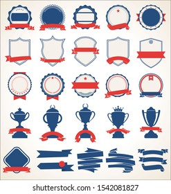 Collection of badges and labels blue and red