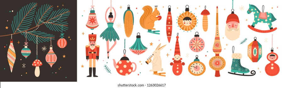 Collection of beautiful baubles and decorations for Christmas tree. Set of holiday ornaments. Figures of animals, Santa Claus, nutcracker, ballerina. Colored illustration in flat cartoon style.