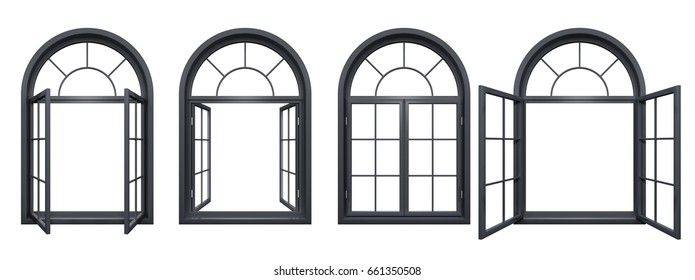 Collection of black arched windows isolated on white 3D