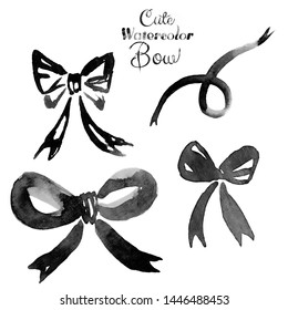 Collection of black watercolor bows, hand painted isolated on a white background. Watercolor abstract bows set. Black watercolor ribbon.
