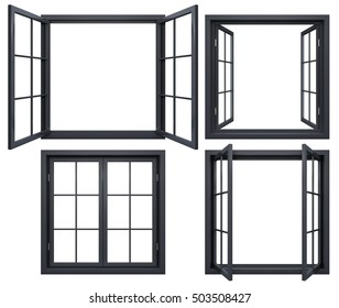 Collection of black window frames isolated on white.3D rendering