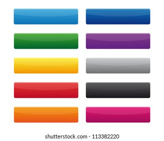Collection of blank rectangular buttons in various colors. Vector available.