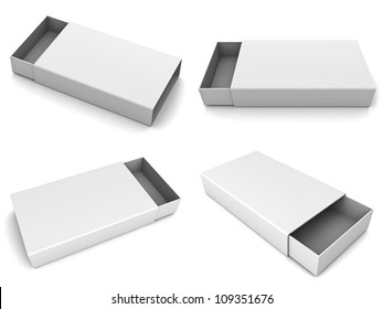 Collection of blank slide boxes on white background