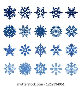 collection of blue snowflakes on white background