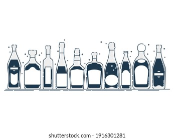 Collection bottle alcoholic drinks. Alcohol container stand in row. Illustration isolated. Flat design style with black fill. Beer champagne vermouth wine liquor vodka martini whiskey rum tequila.