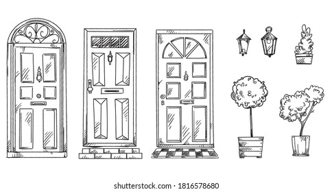collection of British traditional doors with flower pots and lan