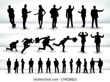 Collection of business people outlines in different positions, mainly in the theme of presentation and running - raster version of vector illustration