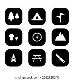 キャンプシンボルのコレクション、冒険のウェブアイコンのハイク