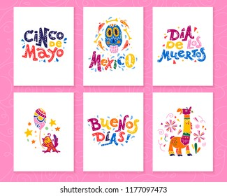 Collection of cards with traditional decoration Mexico party, carnival, celebration, fiesta event in flat hand drawn style. Text congratulation, skull, floral elements, petals, animals, cacti.