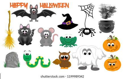 A collection of cartoon halloween symbols, items and animals.