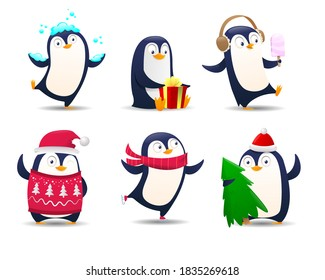 Collection of cartoon penguin. Christmas Penguins on white backdround. Illustration for greeting card template. Cute cartoon Christmas penguins in different emotions