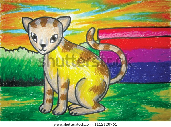 Collection Childrens Drawings Oil Pastels By Stock Illustration