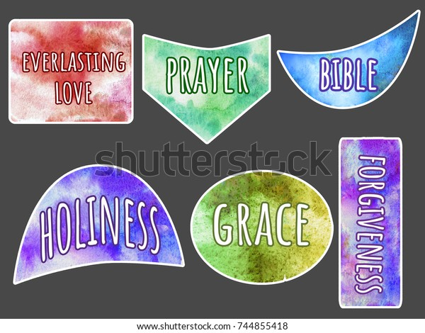 Collection Christian Stickers Words Everlasting Love Stock
