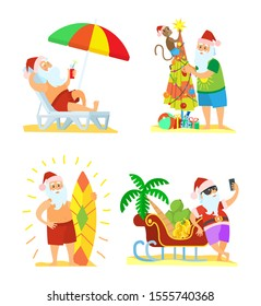 Collection of Christmas beach holiday Santa Claus raster in flat style isolated on white. Surf and chaise-lounge, fir-tree with monkey and palmtree