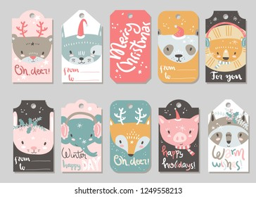 Collection of  Christmas and New Year cute ready-to-use gift tags.Cute tiny animals. Lettering, cat, bear, panda, lion, pig, raccoon, fox, elephant rabbit