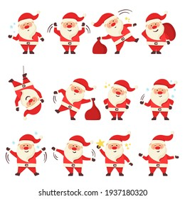 Collection of Christmas Santa Claus. Set of cartoon Christmas illustrations isolated on white background. Set of funny cartoon characters with different emotions and New Year items.