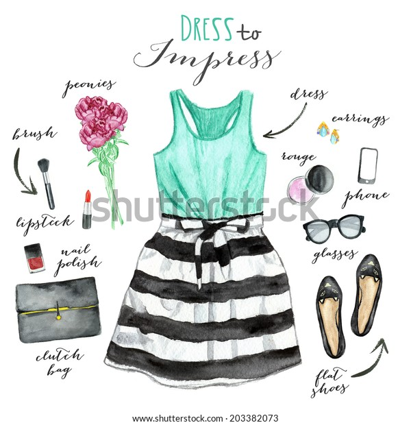 Collection of clothing. Fashion illustration.