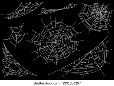 Collection of Cobweb, isolated on black, transparent background. Spiderweb for Halloween design. Spider web elements,spooky, scary, horror halloween decor. Hand drawn silhouette,  illustration