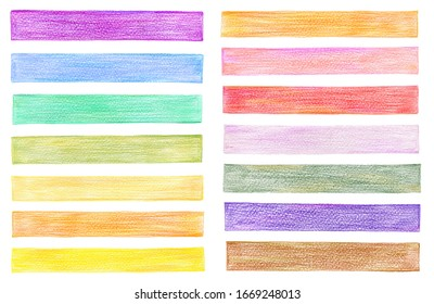 Collection of color pencil graphic elements on white background.