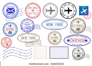 Collection of colored postal stamps and postmarks from different cities. Illustration. Raster version