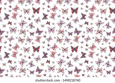 Collection of colorful butterflies, flying in different directions. Raster illustration. Abstract seamless pattern for girls, boys, clothes, wallpaper.