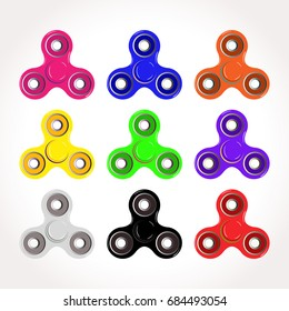 Collection of colorful flat spinner