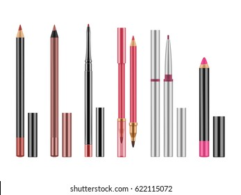 Collection of colorful lip liners. Set of realistic red, pink, nude pencils with caps for contour. Illustration with glamour decorative cosmetic isolated on white background.