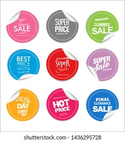 Collection of colorful modern badges and labels