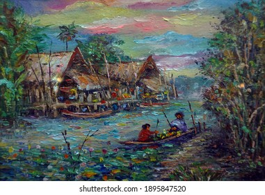 The collection of colorful oil paintings is a background from Thailand.northeast Countryside