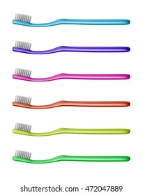 Collection of Colorful Plastic Toothbrush Isolated on White Background 3D Illustration