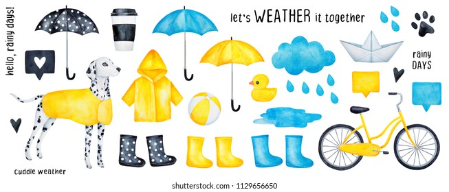 Collection of colorful rainy season symbol illustration. Rubber toys, waterproof clothes, sky, drops, bike, coffee cup. Hand drawn water color graphic on white background, isolated clip art elements.